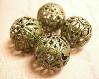 4pc 20mm antique bronze filigree metal beads-6015