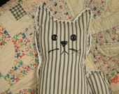 Old Quilty Kitty from authentic vintage striped mattress ticking  with vintage button eyes