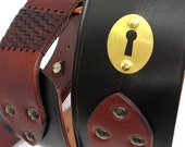 Leather Guitar Strap with Vintage Brass Keyhole Hardware, Eco Friendly, Unisex, Unique, OOAK