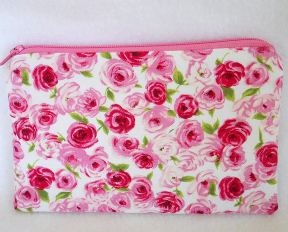 Upcycled Pink Rose Zipper Pouch Gingham Red and Pink Flowers Cosmetics Travel Ready to Ship