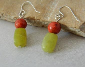 Olive Jade and Red Jasper Earring
