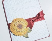 Embossed  Birthday Greeting Card  with Fall Flower