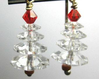 Swarovski Crystal Four Tier Christmas Tree Earrings in Clear Crystal