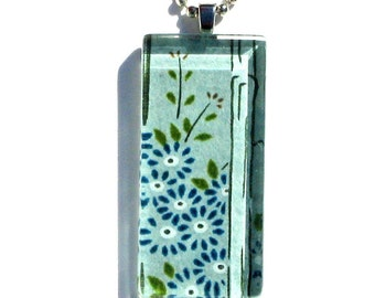 blue bamboo necklace pendant - glass and Japanese chiyogami - blooming bamboo dogtag
