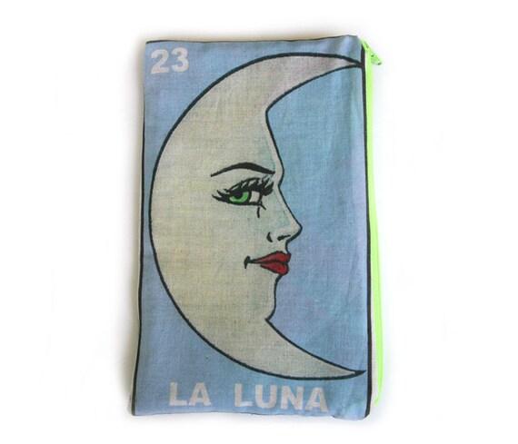 LA LUNA Mexican Loteria Makeup Bag - School Supply Pouch - Pencil Bag
