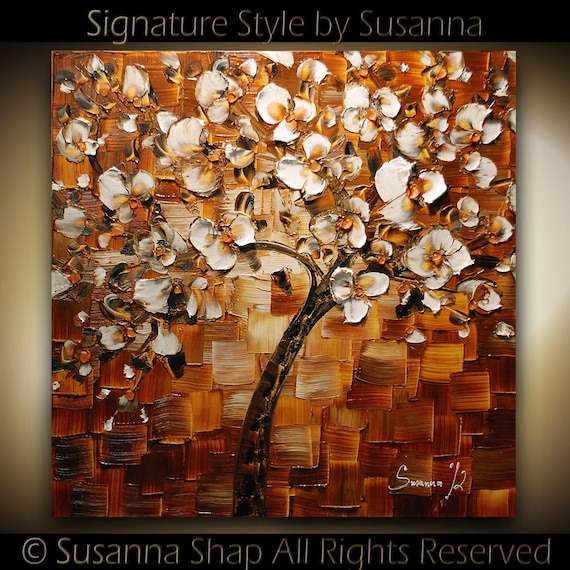 ORIGINAL White Cherry Blossom Tree Abstract Oil Painting Thick Texture Fine Art by Susanna Ready to Hang 24x24