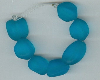 Sea Glass Nugget Aqua BlueSet of 7