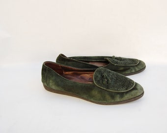 suede forest green slip on WOVEN shoes 8