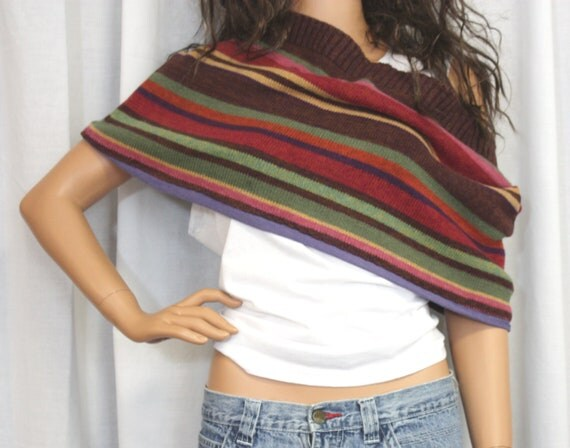 Upcycled Sweater Shrug Shoulder Wrap Cowl Neckwarmer Infinity Scarf Hippie Clothes