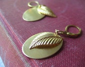 brass leaf earrings pure brass brushed oval disc brass flower lever back earrings womens jewelry under 30