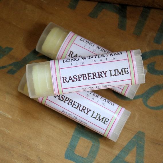 Raspberry Lime Lip Balm - One Tube Beeswax Shea Cocoa Butter Jojoba