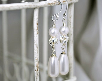 White Pearl Earrings, Swarovski Pearl Teardrop Bridal Earrings, Rhinestone Earrings, Wedding Earrings, Sterling Silver, Elegant Earrings