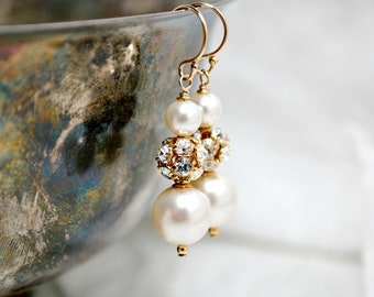 Bridal Earrings, Handmade White Swarovski Pearl Rhinestones, Drop, Gold Earrings, Wedding Earrings, Bridesmaids Earrings,   Cindy E284B10