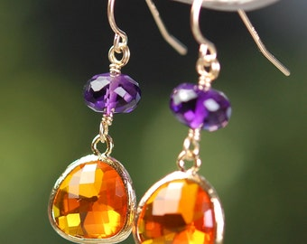 Orange Purple Earrings, Amethyst Quartz Gemstone, Amber Glass, 14K Gold Filled Ear Wires, Fall Fashion