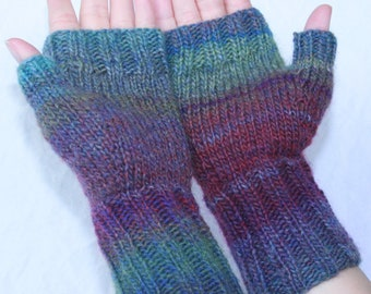 Hand-knit  Fingerless Mittens with Thumb, Glacier Bay, size small