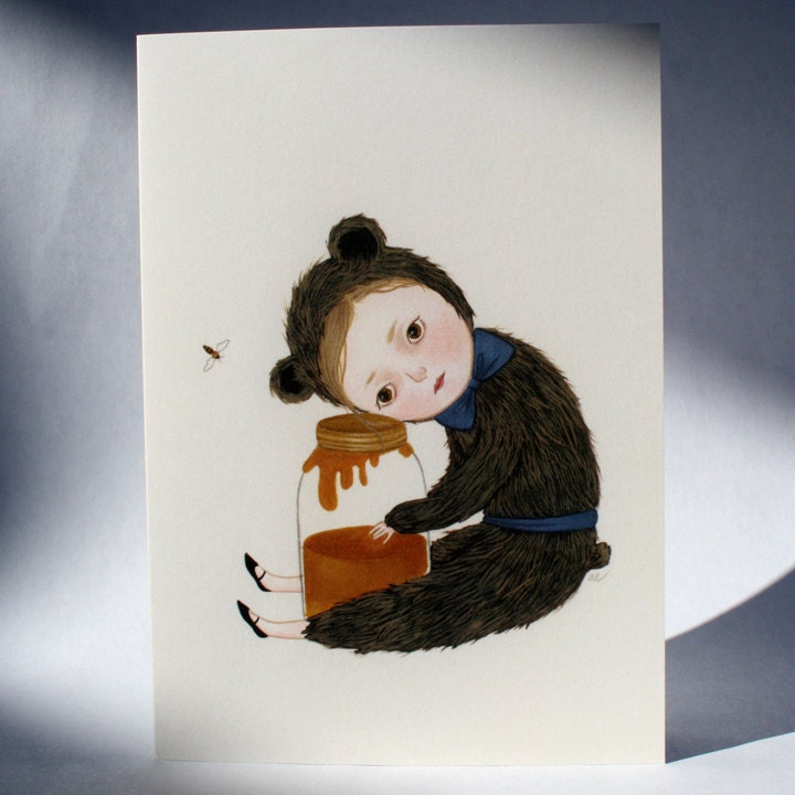 I Miss You Honey blank card with bear brown by woolandwater