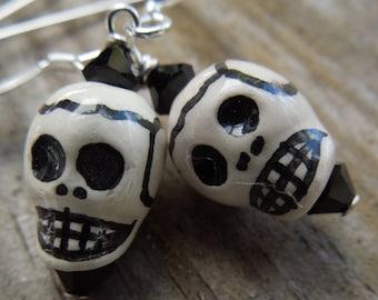 Black and white sugar skull earrings