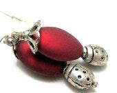 Earrings Ruby Red and Silver Ladybug Handmade Earrings