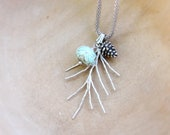 RESERVED Woodland Pinecone Necklace Twig Jewelry Turquoise Stone Branch