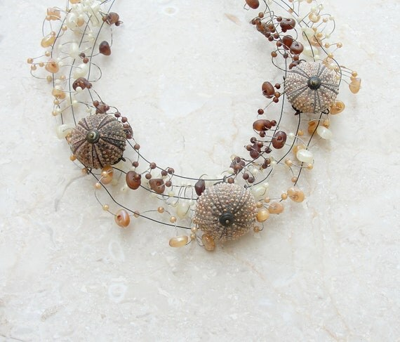 Sea Urchins and Pebbles Necklace (Ooak)