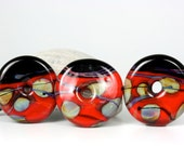 "Lampwork glass bead pendant disc set handmade by Lori Lochner ""Red and black disc's"""