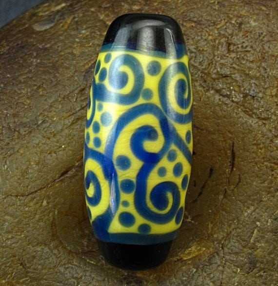 SALE Handmade Lampwork Glass Focal Bead -Fumed Scrolls- by Jason Powers SRA