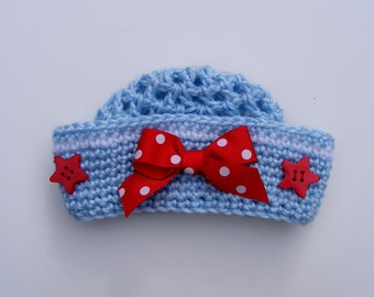 Little Sailor Crochet Hat Pattern - Easy 8 Sizes Baby Crochet Pattern Preemie thru 5t Tutorial for Pull Tie Bow  No.54