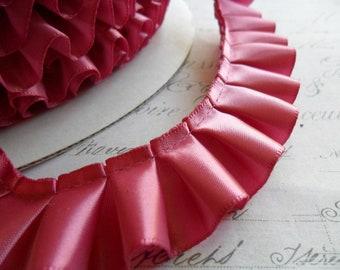 Rose Pink Satin Box Pleated Ruffle Trim 7/8 wide