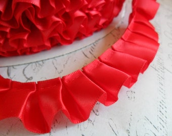7/8 inch wide Christmas Red Satin Pleated Ruffle Trim