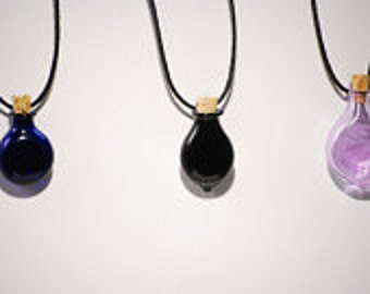 One Hand Blown Colored Glass Bottle Pendant Hand Sculpted by Jenn Goodale