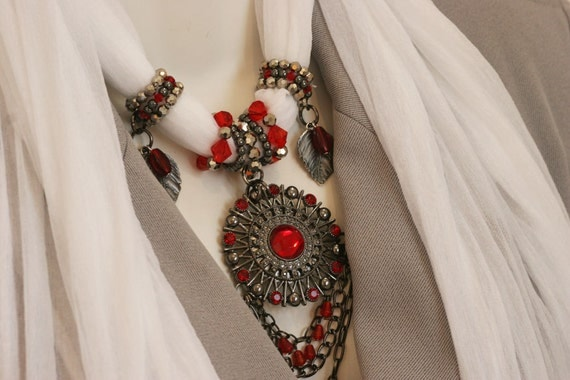 White Scarves Necklace Scarf With Pendant Ruby Red Pendant M
