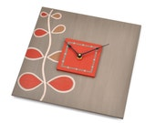 Square Wall Clock - Driftwood, Red-Orange Rising Song Design - 11.5 inches