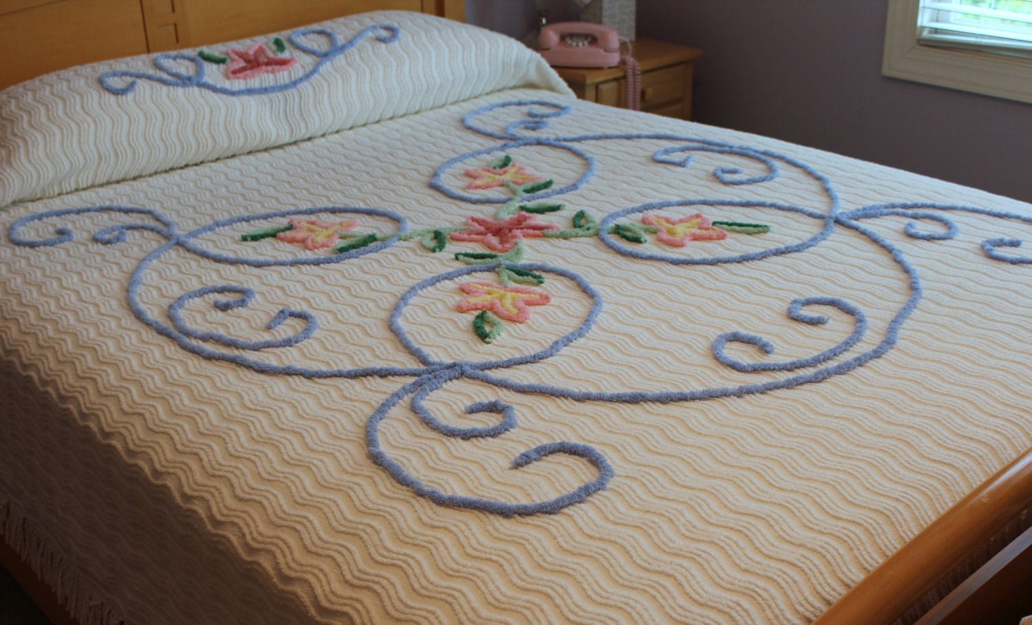 Vintage Chenille Bedspread Beach Cottage New Unused