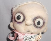 Zombie Baby needle felted art doll Original