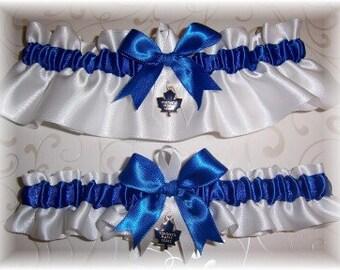 Toronto Maple Leafs Wedding Garter Set Handmade Keepsake and Toss. Satin -W-RRW
