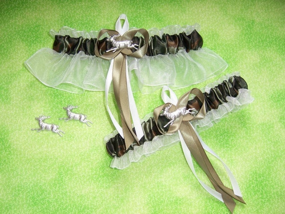 Deer Camouflage Wedding Garter Set on White