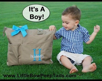 Baby Boy Diaper Bag - Initial and Name Monogrammed Super Feature Tote - Personalized Large Size Solid Color Baby Boy Diaper Shower Gift Idea