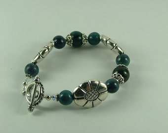 Chrysocolla and Silver Bracelet-B4