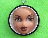 Upcycled Double Capped Bratz Doll Pendant - black and white