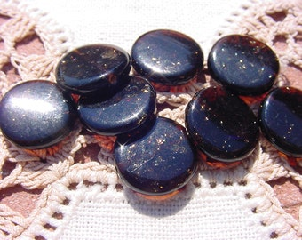 Black Amber Gold Fleck Disc Vintage Glass Beads