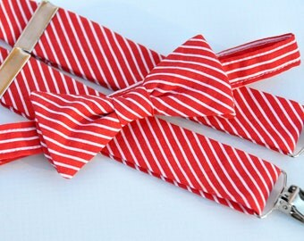 Boy's Bow Tie and Suspenders Red and White Stripe Christmas Outfit, Toddler Bowtie, boy's Suspenders