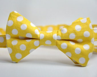 Boy's Bowtie - Yellow and White Polka Dot Bow Tie