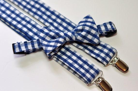 Navy Gingham Seersucker Bowtie and Suspenders
