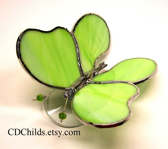 3-D Stained Glass Butterfly (Lime Green)