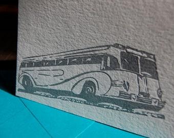 Casino Bus, letterpress card