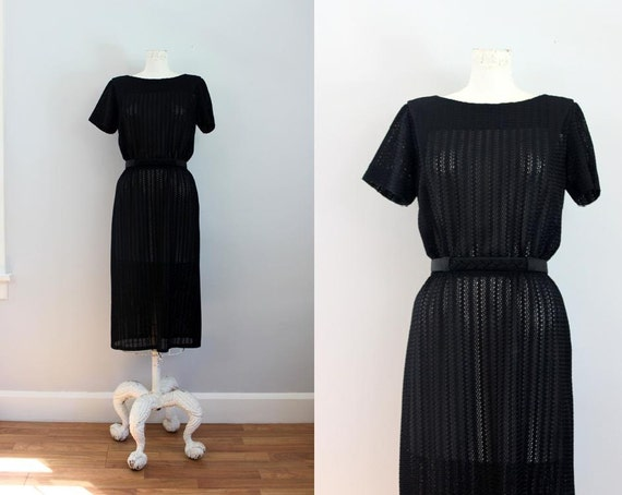 1960s R&K Originals black peekaboo belted dress -SM