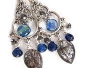Kyanite Queen Earrings - Kyanite, Sterling, Tourmalinated Quartz and Black Diamond