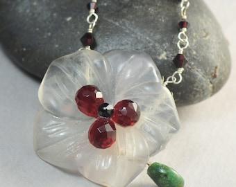 Garnet Swarovski Flower Necklace