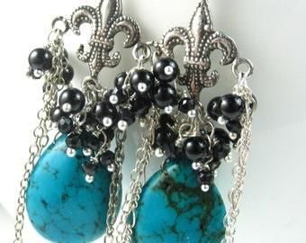 Fleur de Lis Silver and Turquoise Earrings