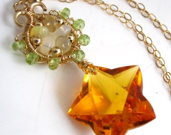 Star Bright Necklace - Citrine, Opal, Peridot and Gold Fill